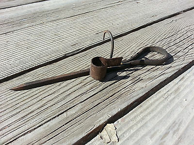 Antique Wrought Iron Miners Candle Stick Holder Sticking Tommy or Tommy Stick