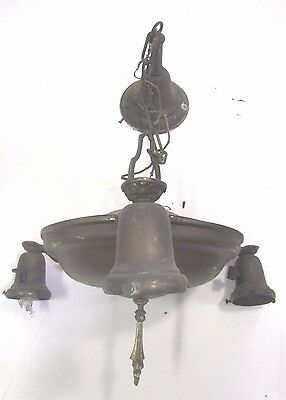 Vintage Antique Ornate Victorian Brass Ceiling Light Three Bulb Fixture