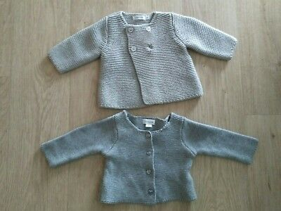 2 cardigans 1 mois comme neuf gris