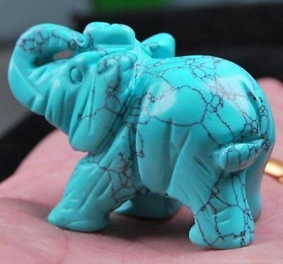 Turquoise Hand Carved Elephant,Crystal Healing,Gemstone Animal Figurine