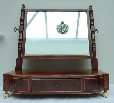 Fabulous 18th Century Mahogany Dressing Table Swivel Mirror with Drawers 1700's