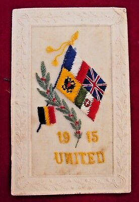 1915 Dated Ww1 - Flags Of The Allies United - Silk Postcard