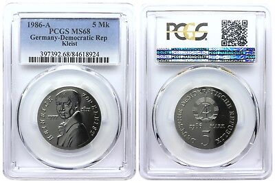 5 Mark 1986 A Kleist Democratic Republic East Germany Pcgs Ms68 Top Pop 3