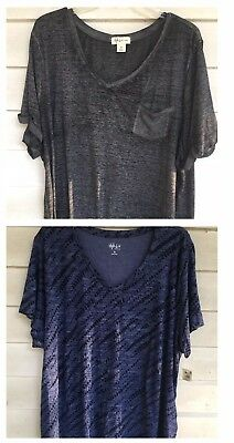 style co 3x Lot Of 2 Plus Size Tees Tops Short Sleeve Blue gray stretchy