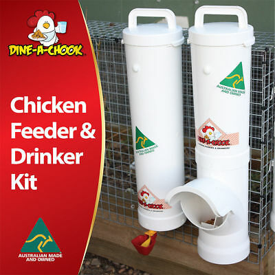 DINE-A-CHOOK Chicken Feeder & Drinker Set  Chook Waterer  Poultry Coop