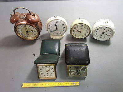 6 antique alarm clocks to pushed up mechanical jaz trip japy etc french