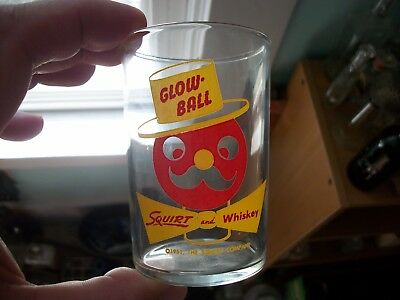 Glow-Ball Squirt & Whiskey 1951 Squirt Company Soda Mixer Glass Red & Yellow