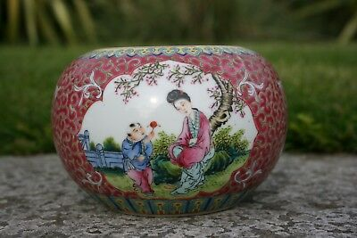 Chinese Porcelain Painted Red Brush Wash Pot  - Marks