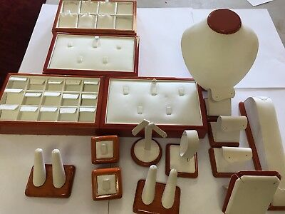 jewelry display showcase trays busts Earring gold silver rings set lot