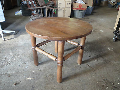 Ancienne Table Basse Bois Ronde Gueridon Art Deco 1950 French Antiquite