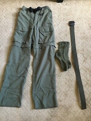 BOY SCOUTS GREEN SWITCHBACK Poly   PANTS SHORTS YOUTH BOYS Med lot socks belt