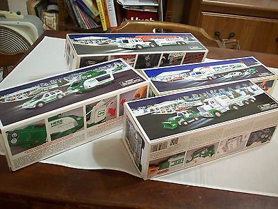 Hess Diecast Toy/Vehicle:1 Lot (4):1997 Toy Truck/Racers,2012 Helicopter/Rescue,