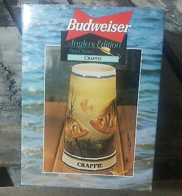 New In Box Budweiser Commerative Stein - Anglers edition Stein Series - Crappie