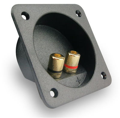 2 Way Speaker Box Terminal Binding Post cup square gold banana with rear gasket