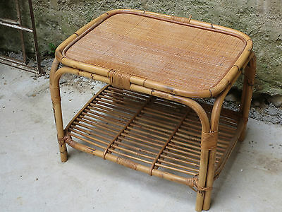Antique very pretty coffee table rattan vintage 70 years french antique table