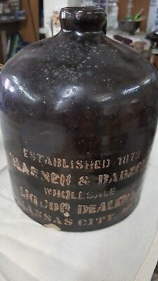 Glasner & Barzen pre pro Whiskey Jug Raised Letters Advertising,  1 Gallon Rare!