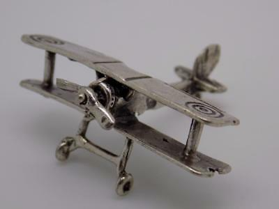 Vintage Solid Silver Airplane Miniature / Figurine - Stamped - Made in Italy