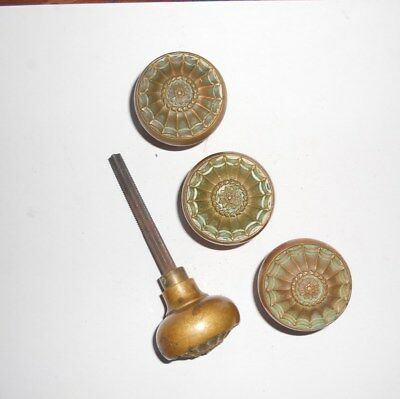 Vintage,antique  Brass Door Knobs W/threaded Rod 4 Knobs