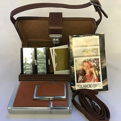 Vintage Polaroid SX-70 Land Camera Kit: Case with Strap and Bulbs