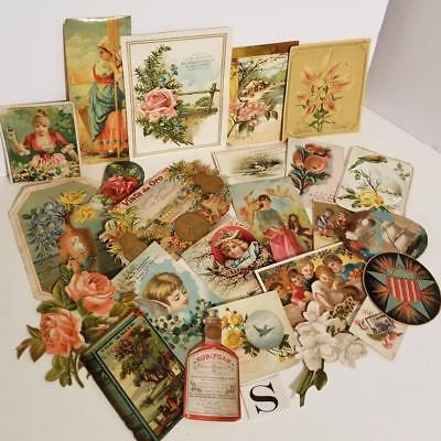 23 pc Antique Victorian scrap pieces picture clippings trade card ephemera lot S