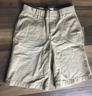 2 pair Boys Lands End Uniform khaki Flat Front Chino Shorts Size 16S