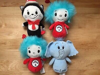 Limited Edition Hallmark Itty Bitty Plush Lot Dr Seuss NWOT Cat Horton Thing 1 2