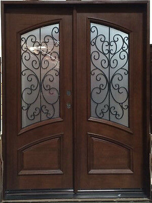 SUMMER SALE! Wood Iron Door Pre-hung &Finished DMH7619-5 Frosted Glass