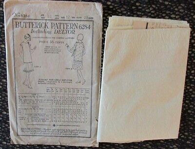 Vint 1923 BUTTERICK SEWING PATTERN Deltor #6284 UNUSED Factory Fold FLAPPER Rare