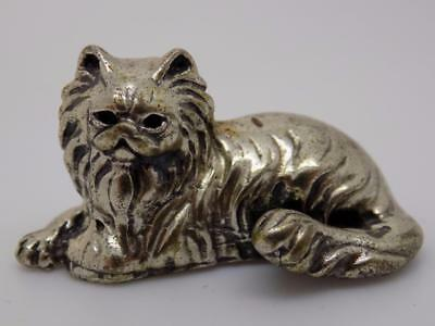 Vintage Solid Silver Cat Miniature / Figurine - Stamped - Made in Italy