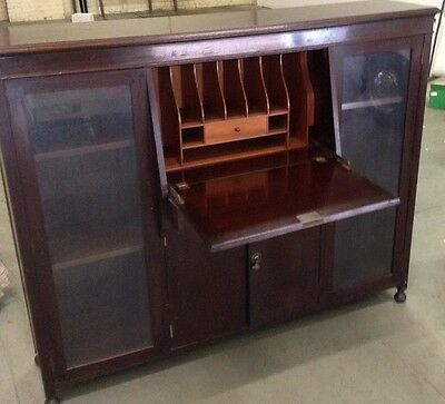 Vintage Secretaire Desk Escritoire Bureau Display Case Bookcase