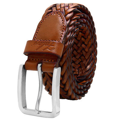 Falari® Men's Braided Belt Stainless Steel Buckle Genuine Leather 35mm 9007