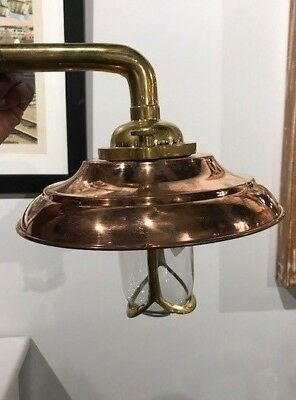 Vintage Brass Bulkhead Light With Copper Shade - Salvaged - Restored & Rewired!