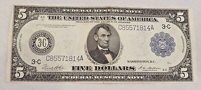 Series 1914 $5 US Blue Seal Federal Reserve Note Philadelphia, PA Large Note