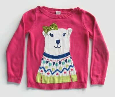 GYMBOREE Youth Girl's Size 7-8 yrs. Hot Pink Multi Colored Graphic Sweater