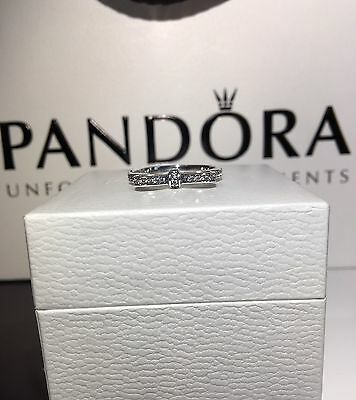 New Genuine Pandora Silver Delicate Bow Ring #190906CZ RRP£45