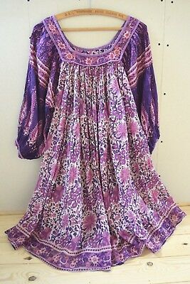 Indian cotton gauze dress s m 10 12 14 8 6 festival 70s hippy style boho smock