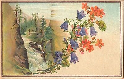 Victorian Trade Card-Centennial American Tea Co-New Haven, CT-Waterfall-Hikers