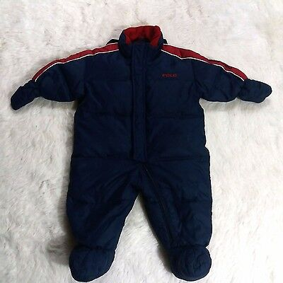 Ralph Lauren Polo Sport Down Snowsuit Small Medium Baby Infant 3 mo to 12 mo