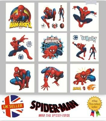 12 Childrens Spiderman Temporary Tattoos Kids Loot Party Bag Fillers Boys Girls