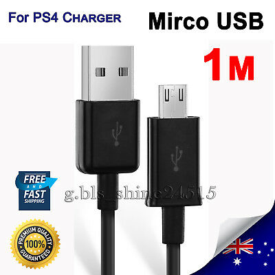1M Charger PS4 Micro USB Controller Data Cable Cord Sony Playstation 4, Android