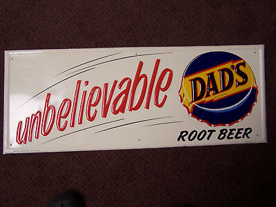 """Dads Root Beer NOS Embossed Sign """"UNBELIEVABLE"""" Press Co. ST. Louis 31"""" x 12"""""""