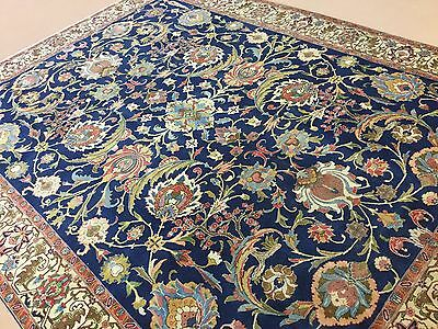 Stunning Antique Persian Tabriz Oriental Rug Blue Hand Knotted Wool 9 x 11.6