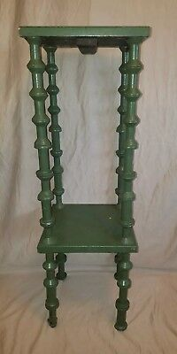 vintage tramp art spool art plant stand/table