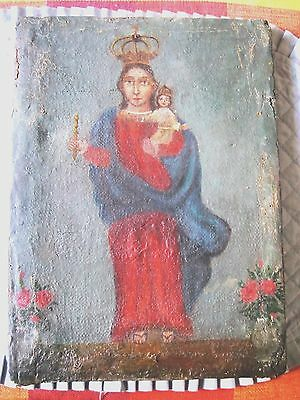 Original Antique 1800's Oil Painting On Canvas With The Image Of Mary & Jesus