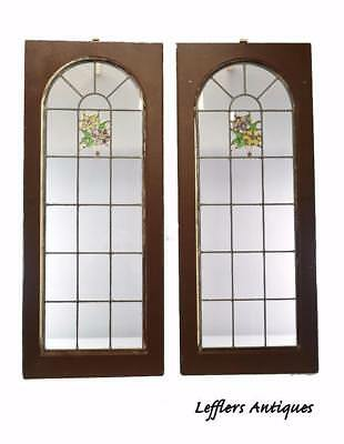 Pair Of Clear With Floral Detail Stained Glass Windows
