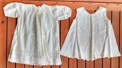 Antique Embroidered Ivory Dress Lace Trim Cotton Includes Slip For Baby or Doll