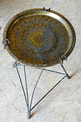 Small table pedestal table retro years 1950 structure metal plasticized