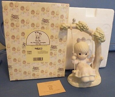 My warmest thought are you Precious Moments 524085 figurine 1995 girl swing bird