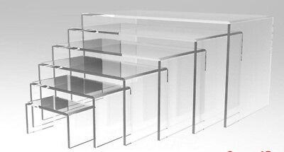 NEW 6pcs Jewellery Display Riser Stand Set Acrylic Perspex® CLEAR 5mm Thickness