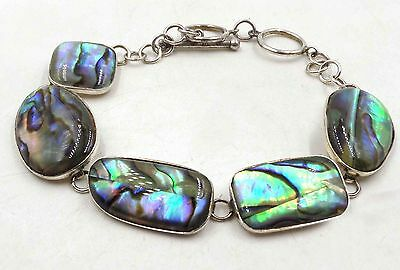 "Vintage 8"" Sterling Silver 925 Bracelet Abalone Adjustable Links 11g T-Bar"